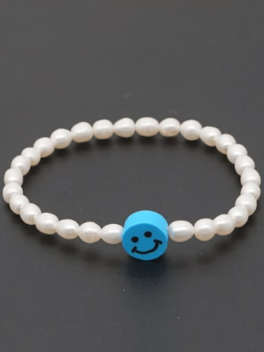 ZZ B200178C Freshwater Pearl Multi Color Smiley Minimalist Stretch Bracelet