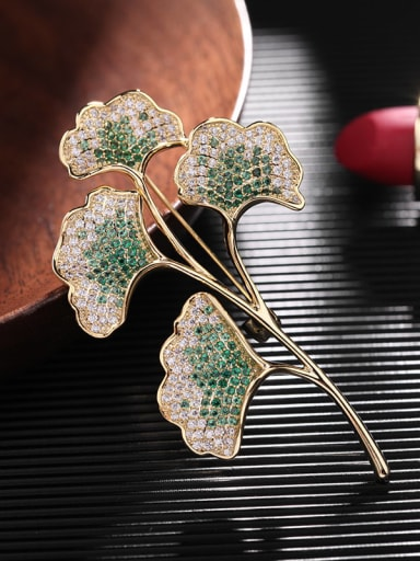 Golden green Brass Cubic Zirconia Flower Statement Brooch