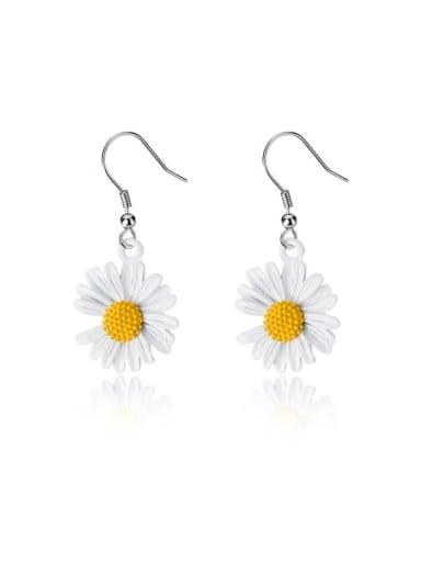 925 Sterling Silver Resin Flower Minimalist Hook Earring