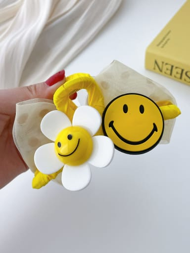 Yellow rubber smiling face 11cm Alloy Resin Trend Cute Smiley  Flower Jaw Hair Claw