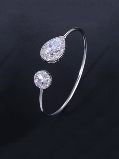 platinum Brass Cubic Zirconia Water Drop Dainty Cuff Bangle