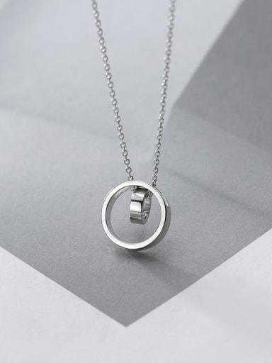 925 Sterling Silver Rhinestone Geometric Minimalist Pendant Necklace
