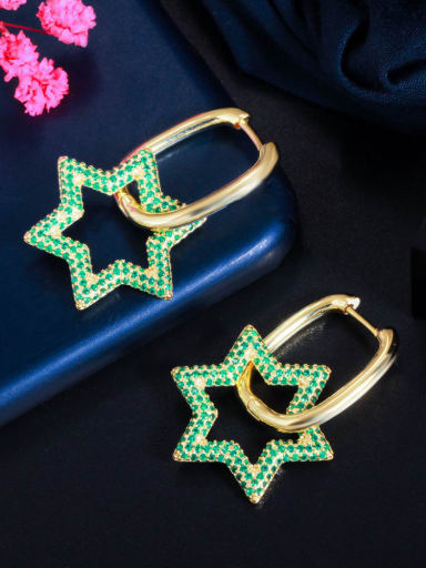 Golden green Brass Cubic Zirconia Geometric Luxury Cluster Earring