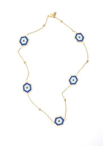 Stainless steel Miyuki beads Evil Eye Bohemia Pure handmade, Necklace