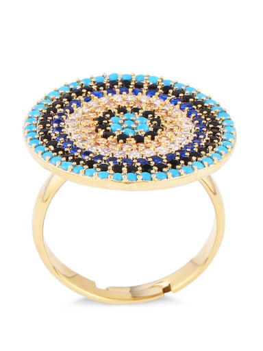 golden Brass Cubic Zirconia Evil Eye Luxury Cocktail Ring