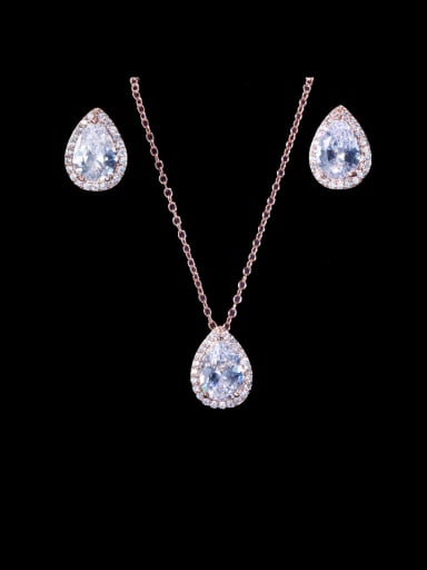 Brass Cubic Zirconia Luxury Water Drop  Earring and Necklace Set
