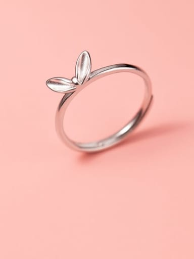 925 Sterling Silver Leaf Cute Band Ring