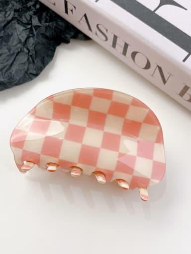 Pink white grid 8.7cm PVC Minimalist Irregular Alloy Multi Color Jaw Hair Claw