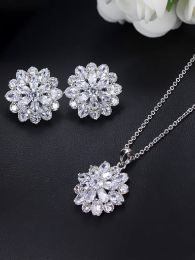 Brass Cubic Zirconia Dainty Flower  Earring and Necklace Set