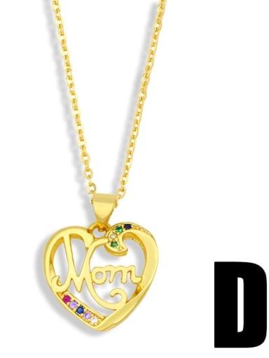 D Brass Cubic Zirconia Heart Minimalist Necklace