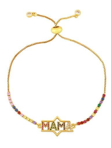 B Brass Cubic Zirconia Letter Vintage Link Bracelet