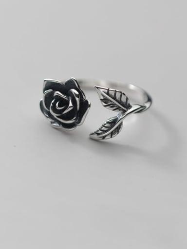 925 Sterling Silver Flower Vintage Band Ring