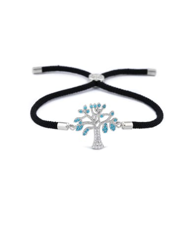 Black rope Silver Brass Cubic Zirconia Tree Minimalist Adjustable Bracelet