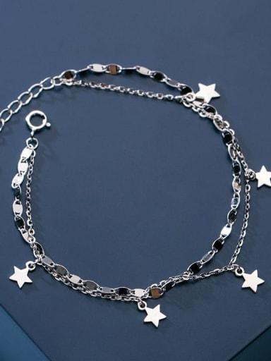 925 Sterling Silver Star Minimalist Strand Bracelet