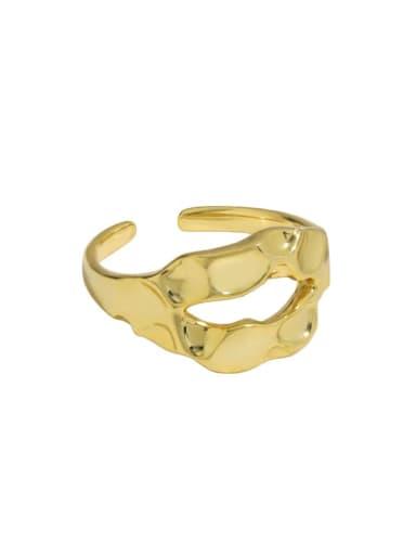 14k Gold [14 adjustable] 925 Sterling Silver Hollow Geometric Vintage Band Ring