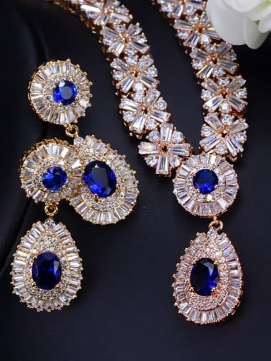 Champagne Gold Blue zirconium Brass Cubic Zirconia Luxury Geometric Earring and Necklace Set