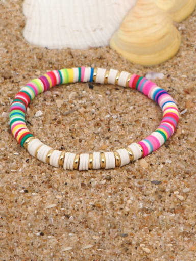 QT B200162A Stainless steel Multi Color Polymer Clay Geometric Bohemia Stretch Bracelet