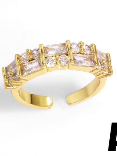 Brass Cubic Zirconia Geometric Vintage Band Ring