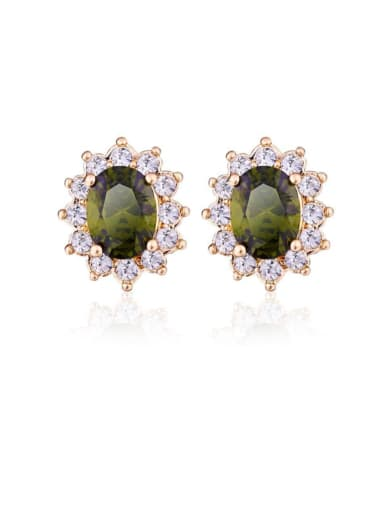 Brass Cubic Zirconia Flower Luxury Stud Earring