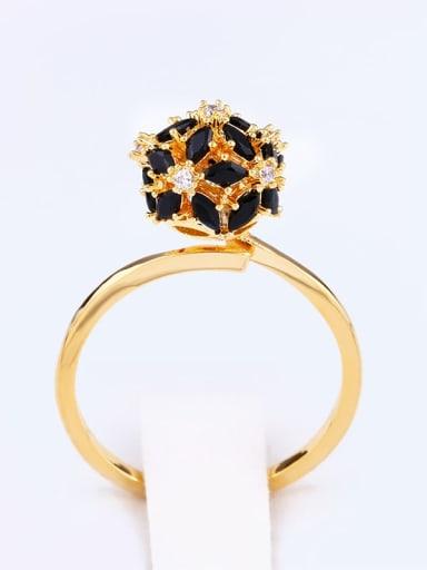 golden Brass Cubic Zirconia Ball Statement Cocktail Ring