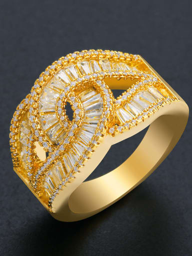 golden Brass Cubic Zirconia Geometric Statement Band Ring