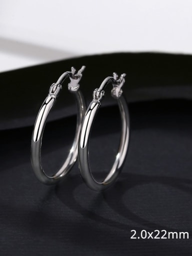 20 17D12 925 Sterling Silver Smooth Round Minimalist Hoop Earring