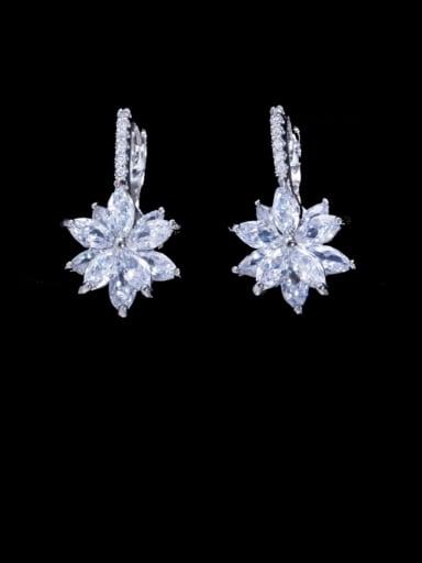 white Brass Cubic Zirconia Flower Luxury Huggie Earring