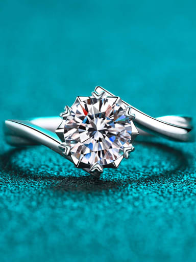 Sterling Silver Moissanite White Heart  Engagement Rings