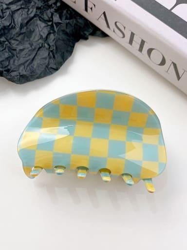 Blue yellow grid 8.7cm PVC Minimalist Irregular Alloy Multi Color Jaw Hair Claw