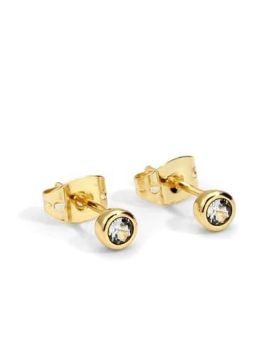 Grey blue drill Earrings Brass Rhinestone Geometric Minimalist Stud Earring