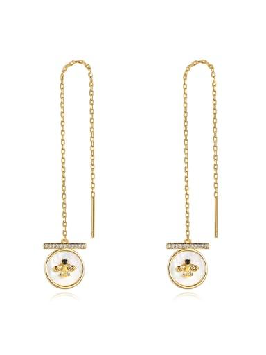 Brass Cubic Zirconia Tassel Minimalist Threader Earring