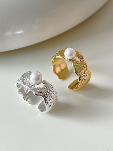 925 Sterling Silver Imitation Pearl Geometric Vintage Band Ring