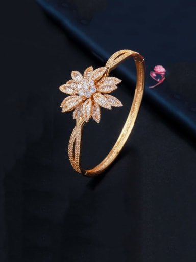 gold Copper With  Cubic Zirconia Fashion Flower Bangles