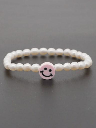 ZZ B200178D Freshwater Pearl Multi Color Smiley Minimalist Stretch Bracelet