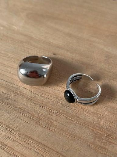 925 Sterling Silver Black Agate  Irregular Vintage Band Ring