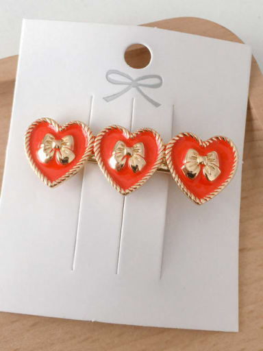 Heart red Alloy Enamel Minimalist Heart  Round Bow-Knot Hair Barrette