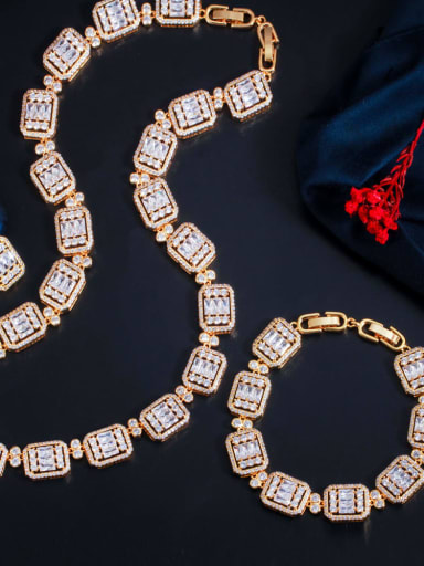 Gold three piece set Brass  Cubic ZirconiaLuxury Geometric  Earring Braclete and Necklace Set