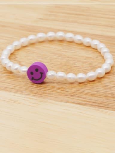 ZZ B200178A Freshwater Pearl Multi Color Smiley Minimalist Stretch Bracelet