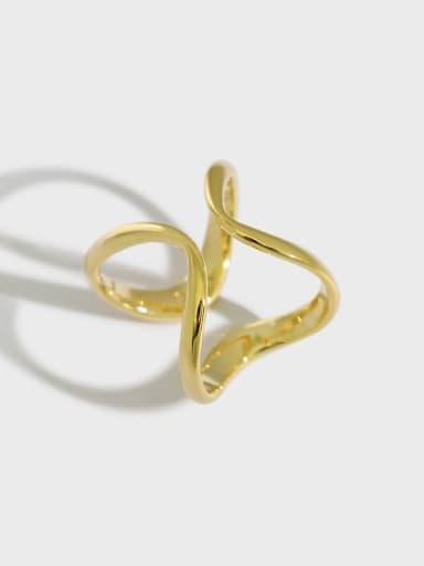 925 Sterling Silver Minimalist  Irregular lines Band Ring