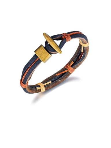 1396 Brown Alloy Leather Geometric Vintage Woven Bracelet