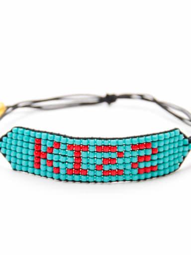 MG B180211D Stainless steel Bead Multi Color Geometric Bohemia Handmade Weave Bracelet