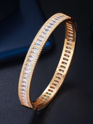 gold Brass Cubic Zirconia Geometric Classic Band Bangle