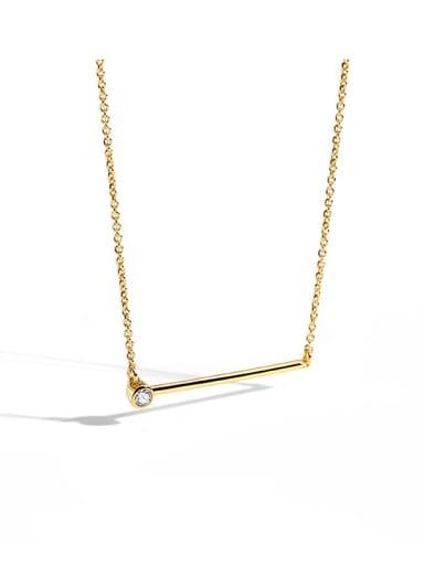 Brass Rhinestone Geometric Minimalist Necklace