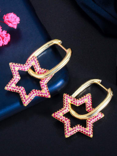 Golden red Brass Cubic Zirconia Geometric Luxury Cluster Earring