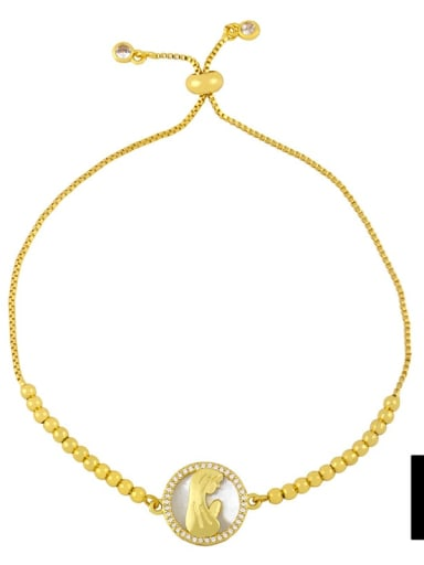 B Brass Shell Round Minimalist Beaded Bracelet