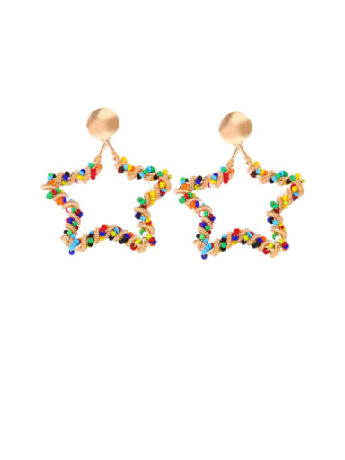 five-pointed star Alloy Imitation Pearl Heart Ethnic Drop Earring