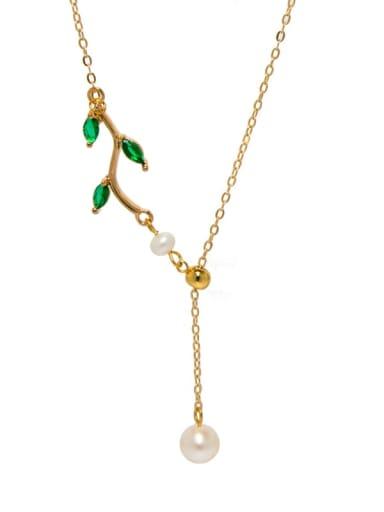 Brass Freshwater Pearl Tassel Minimalist Lariat Necklace