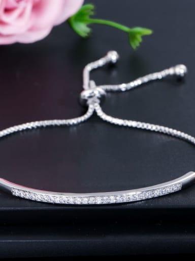 platinum Copper Cubic Zirconia Geometric Dainty Adjustable Bracelet