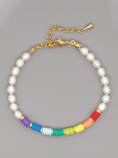 ZZ B200190C Stainless steel Freshwater Pearl Multi Color Polymer Clay Round Bohemia Bracelet