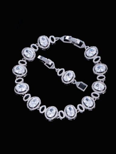 white Brass Cubic Zirconia Multi Color Oval Luxury Bracelet